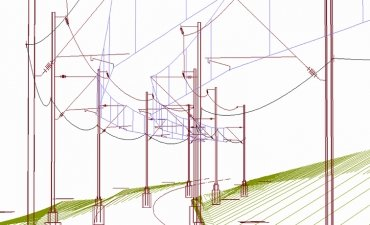 3D tegning af kørestrømsystem